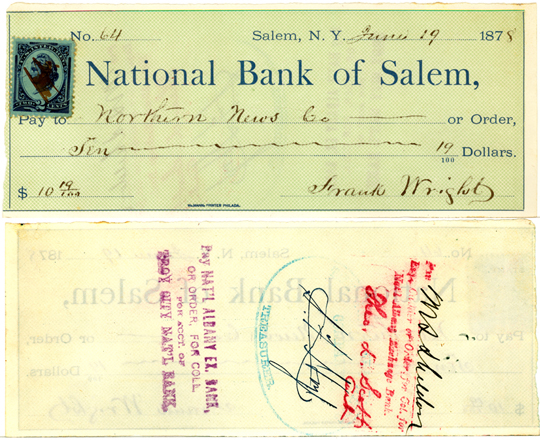 Salem NY, Other 1870s Photograph - Bank Check to Northern News Co. ~ 1878 1878 - NYSA8003 - Richard Clayton Photography - Cambridge Photo - Vintage Photographs