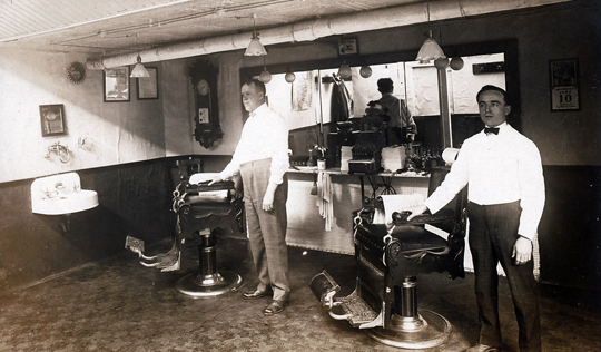Inside Buskirk's Barber Shop 1908