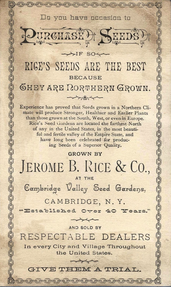 Back of Rice's Seed Trading Card 1885